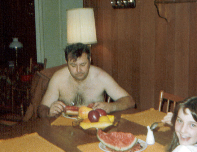 dad eating watermelon