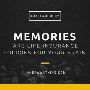 memories are life insurance policies for your brain. Andra Watkins