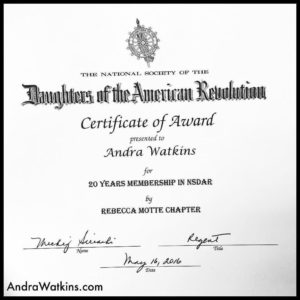 proud of my Daughters of the American Revolution certificate