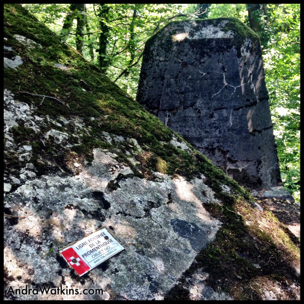 The Swiss built a series of tank-repelling fortifications on the Toblerone Trail during World War II. These concrete dragons teeth weigh 9 tons each and were designed to thwart a German tank invasion.