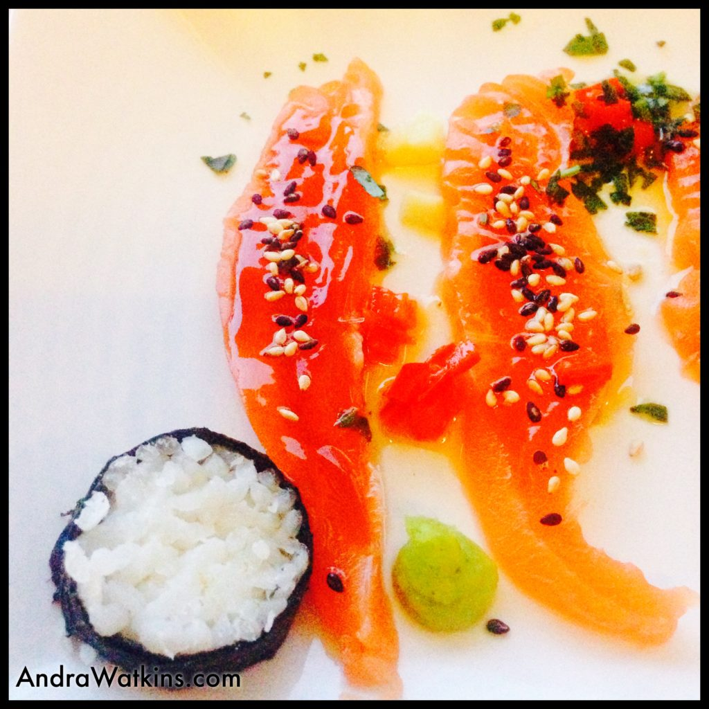 The second course paired Philippe's 2015 chenin blanc with sashimi-style trout.