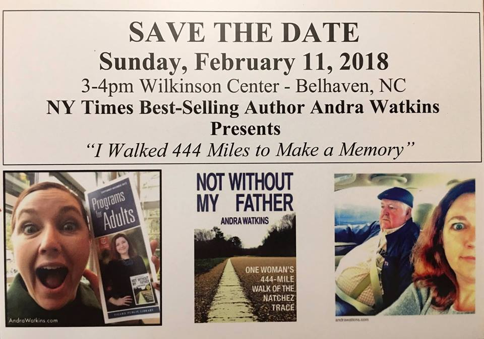 I'll be in Belhaven, NC February 11. Meet me at the Wilkinson Center. 3 - 4pm. Or meet me beforehand at Between Water & Main Bed and Breakfast.